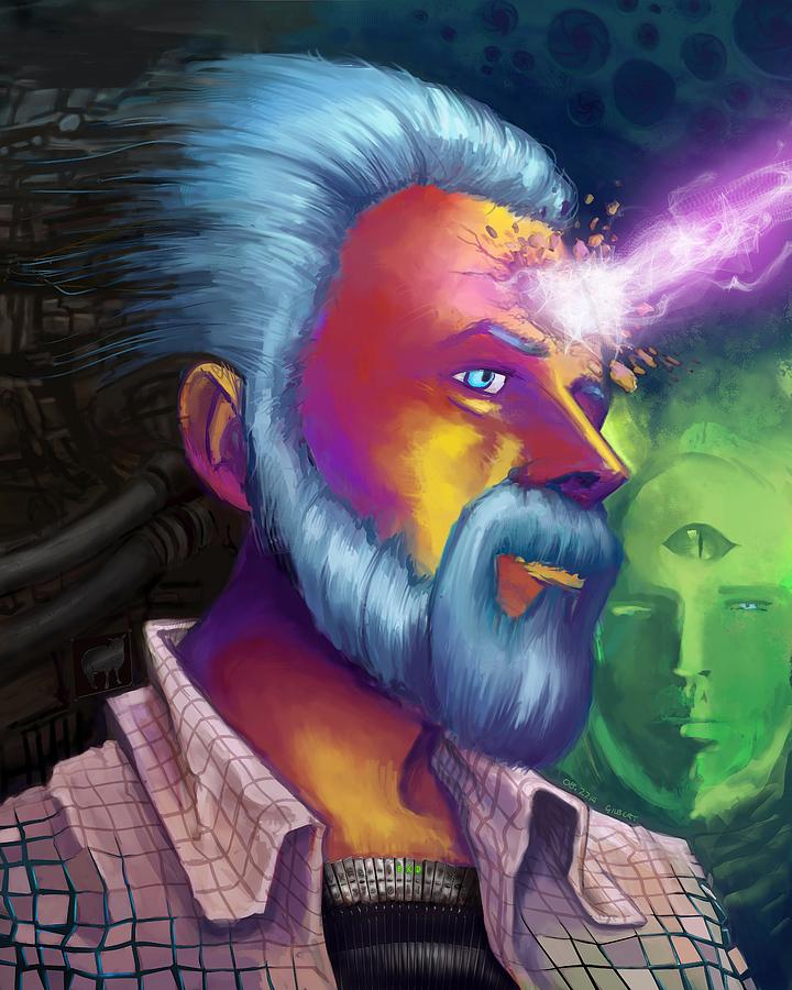 Phillip K. Dick Painting - Phillip K. Dick Portrait by Brian Gilbert