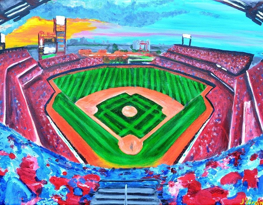 Philadelphia Phillies Ballpark Painting - Philly Park by Jennifer Virgin