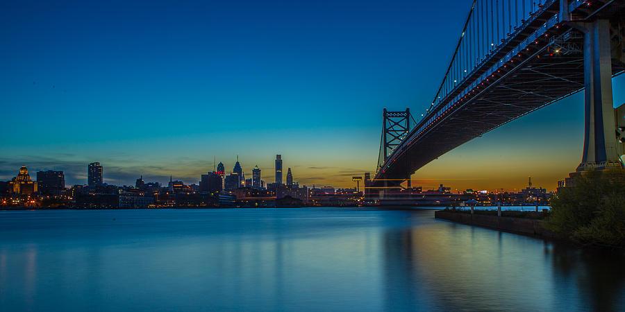 Ben Franklin Bridge Photograph - Philly Skyline by David Hahn