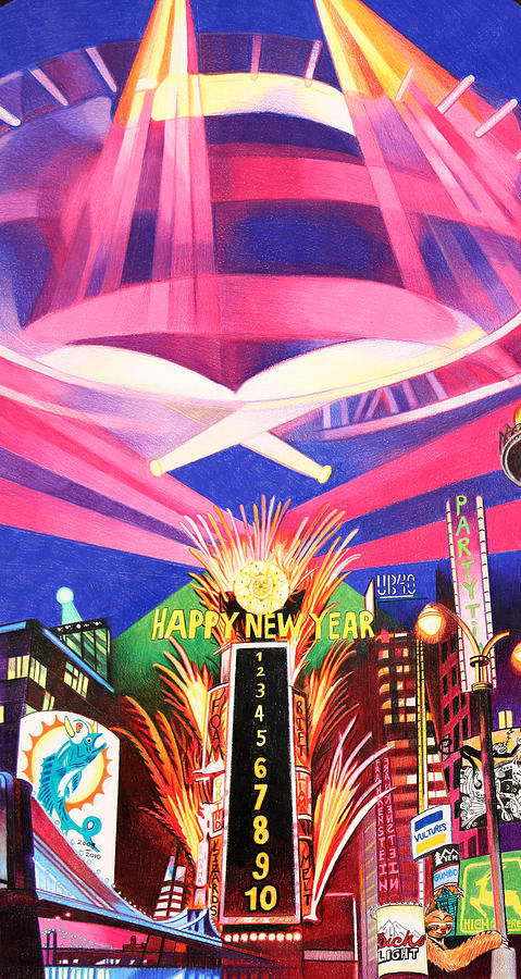 Phish Drawing - Phish New Years In New York Middle by Joshua Morton