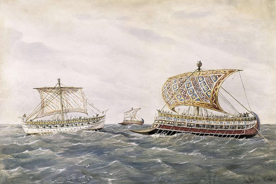 Navigation Photograph - Phoenician And Assyrian Battle Ships by Everett