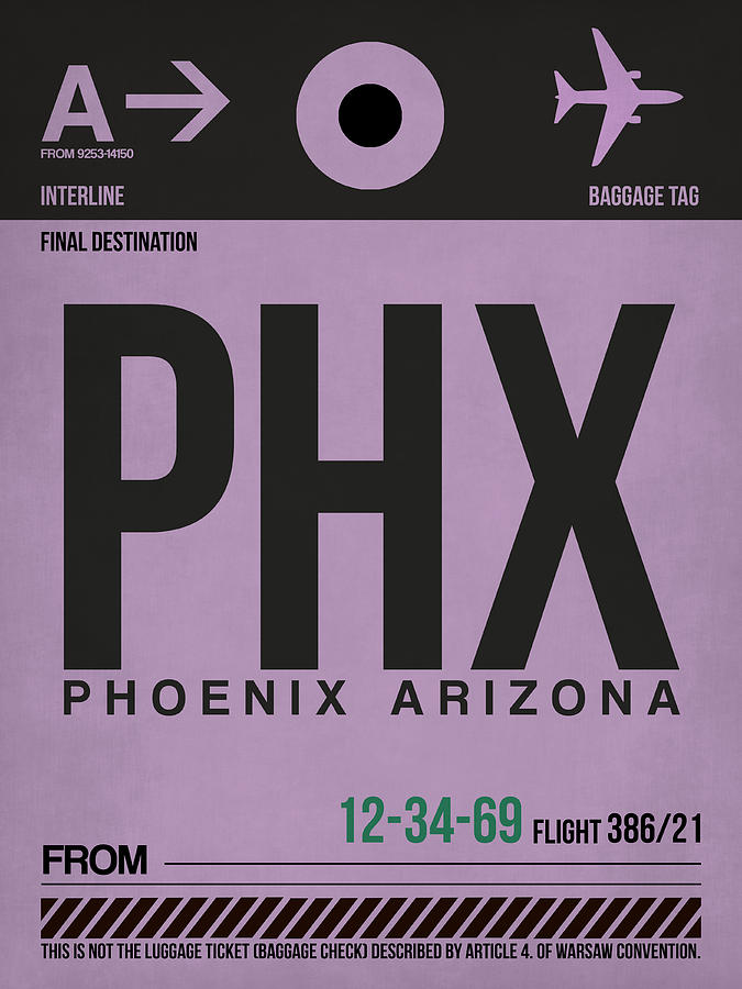 Phoenix Digital Art - Phoenix Airport Poster 1 by Naxart Studio