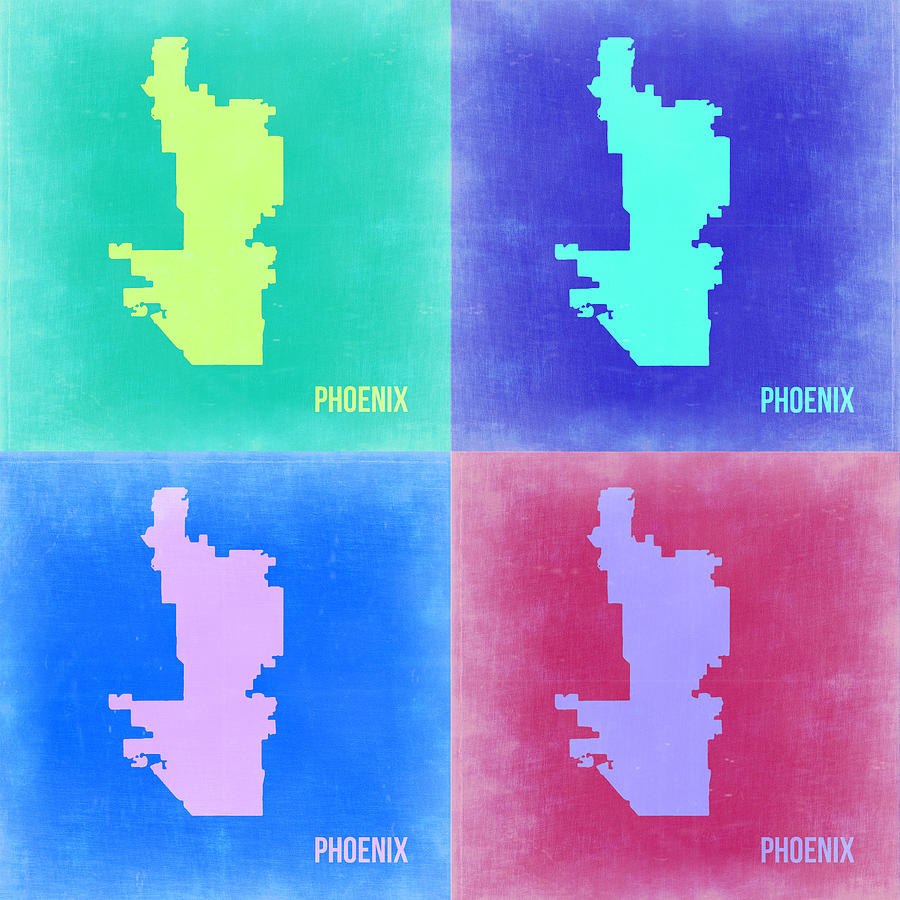 Phoenix Painting - Phoenix Pop Art Map 1 by Naxart Studio