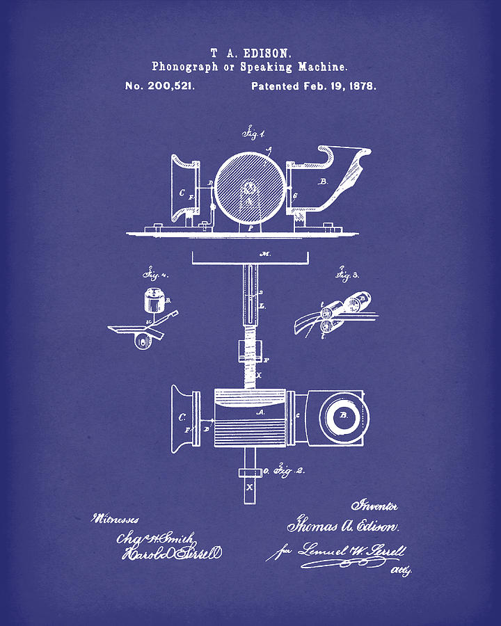 Edison Drawing - Phonograph 1878 Patent Art Blue by Prior Art Design