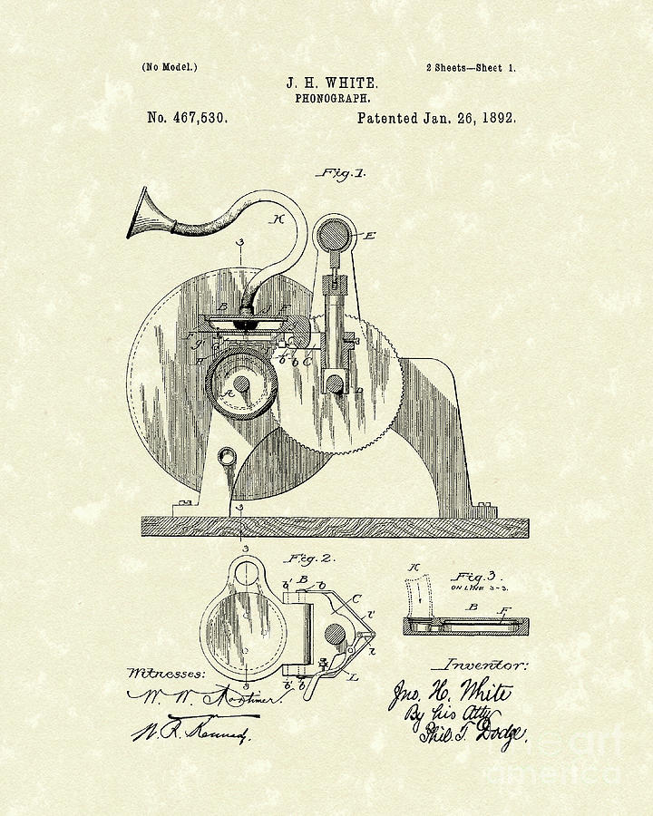 White Drawing - Phonograph 1892 Patent Art by Prior Art Design