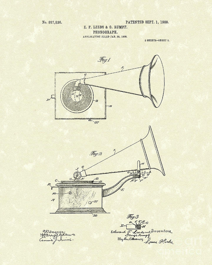 Leeds Drawing - Phonograph 1908 Patent Art by Prior Art Design