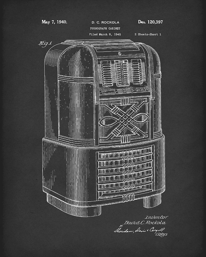 Rockola Drawing - Phonograph Cabinet 1940 Patent Art Black by Prior Art Design