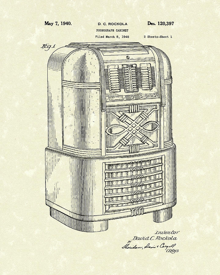 Phonograph Cabinet 1940 Patent Art by Prior Art Design