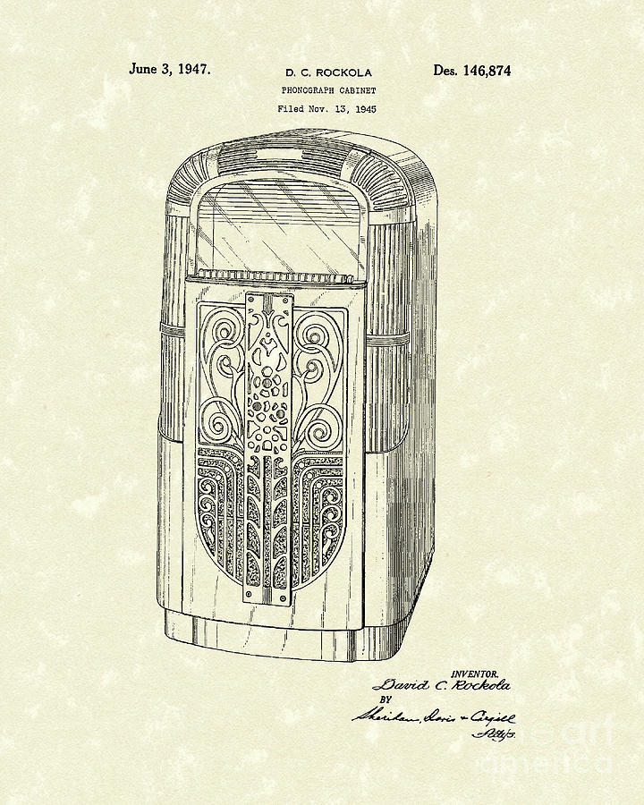 Rockola Drawing - Phonograph Cabinet 1947 Patent Art by Prior Art Design