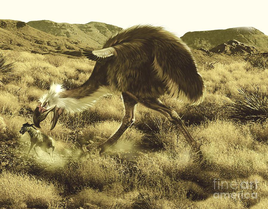 Phorusrhacos Flightless Bird Hunting Digital Art by Jan Sovak