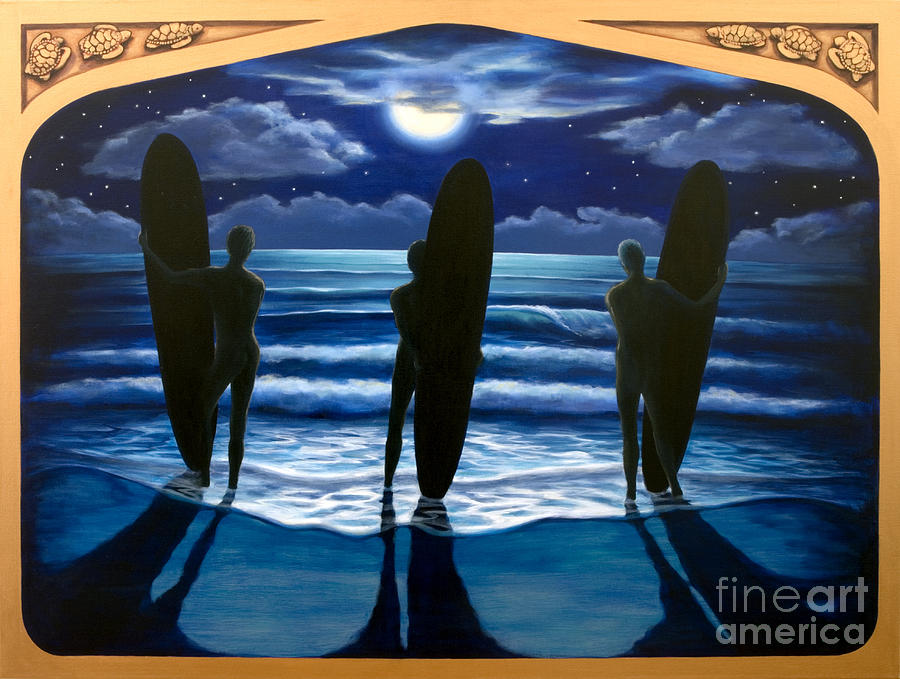 Surfing Painting - Phosphorus Nights by Teri Tompkins
