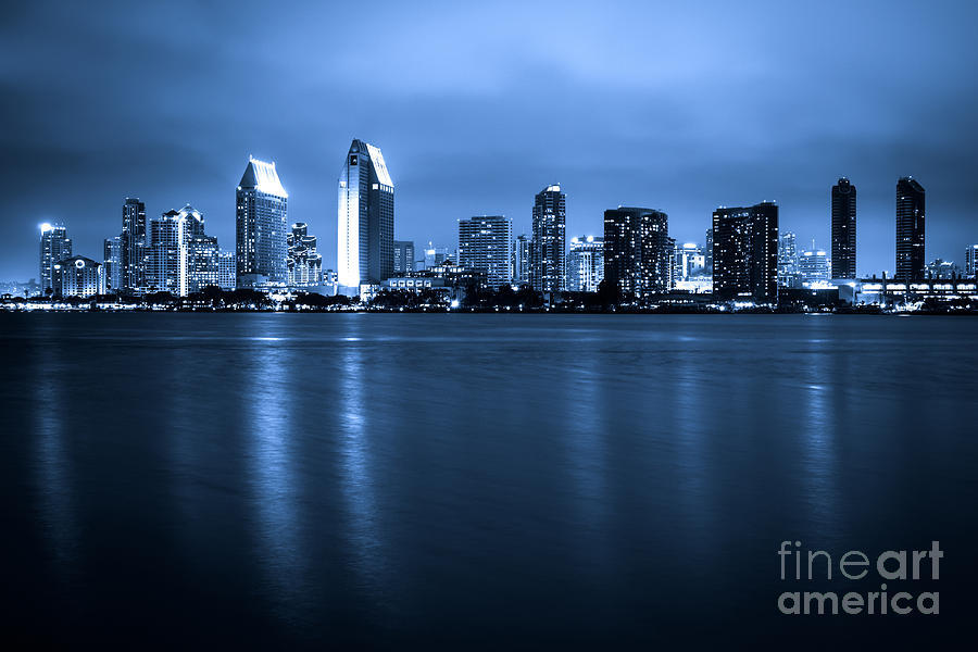 2012 Photograph - Photo Of San Diego At Night Skyline Buildings by Paul Velgos