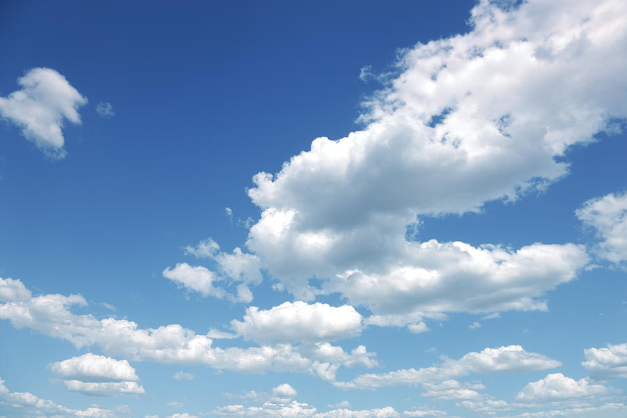 Photo of some white whispy clouds and blue sky cloudscape Photograph by Kertlis