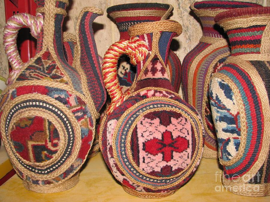 Persian Carpet Design Ceramic Art - Photos of Persian vase made of Antique Rug  Kilim  Jajim and Hemp by Persian Art