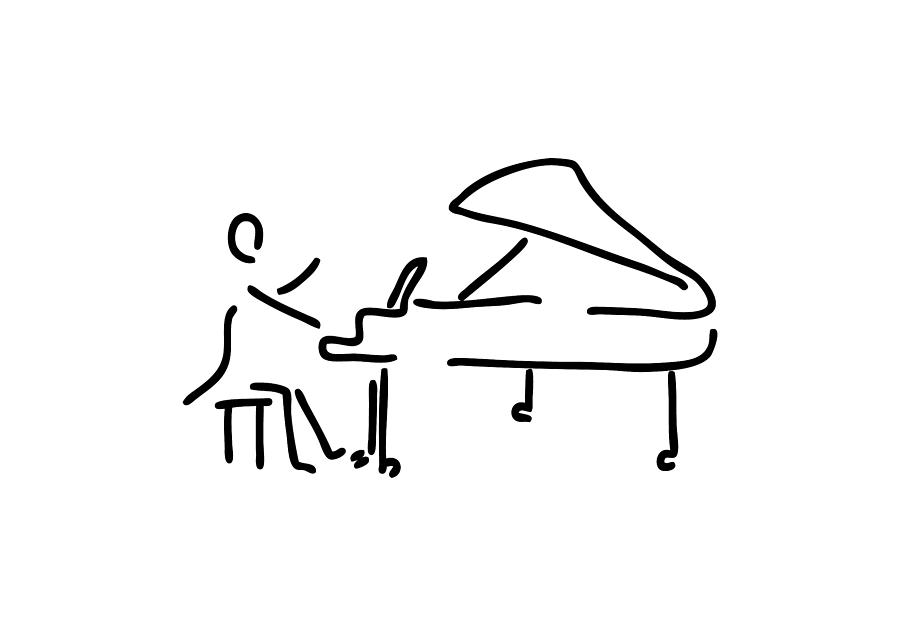 Pianist Musician Plays The Piano Drawing