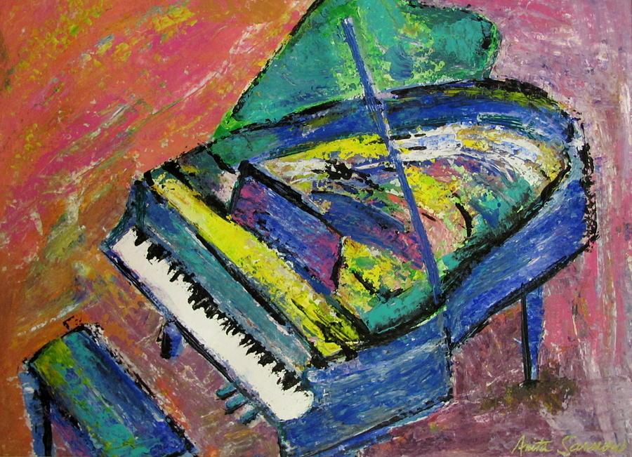 Piano Painting - Piano Blue by Anita Burgermeister