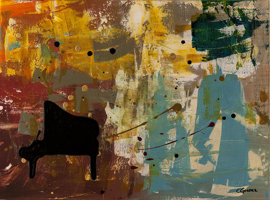 Music Abstract Art Painting - Piano Concerto by Carmen Guedez