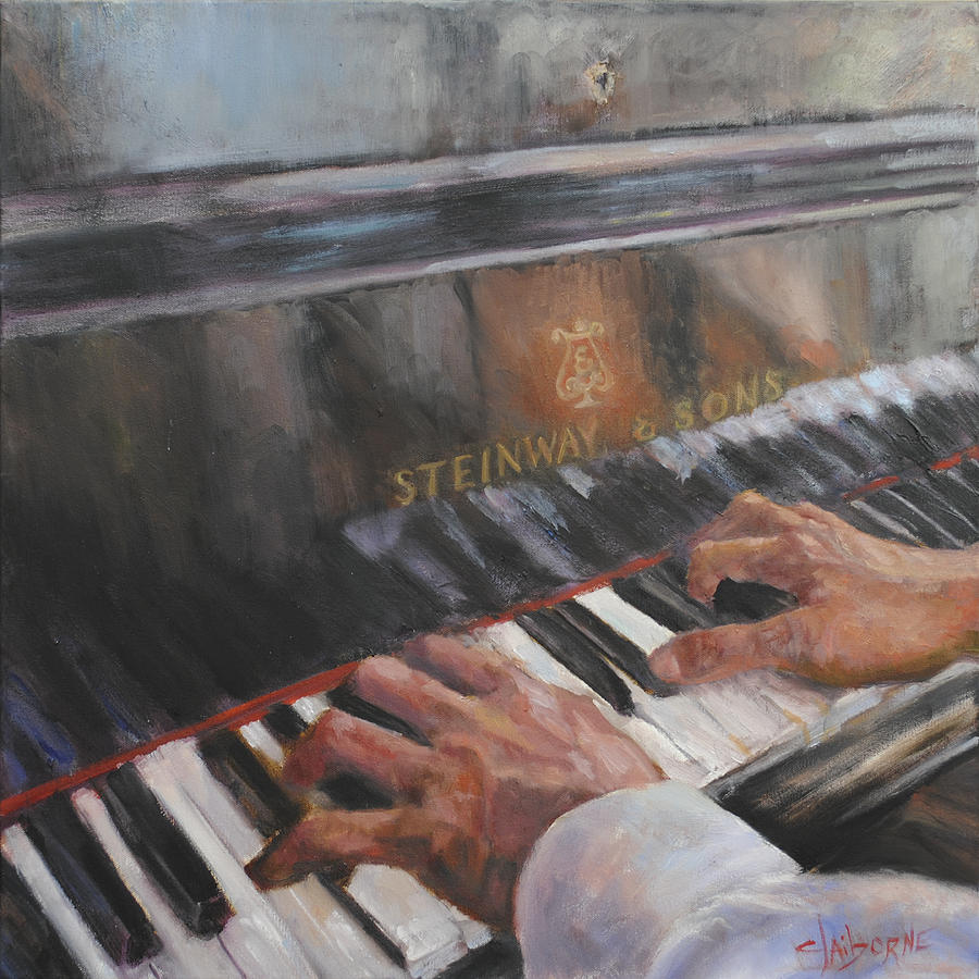 Piano Hands Painting by Claiborne Hemphill-Trinklein