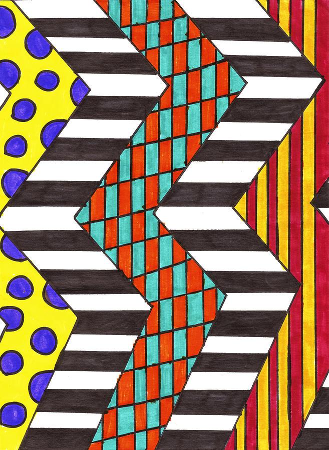 Stripe Drawing - Piano Keys by Alison Cloninger