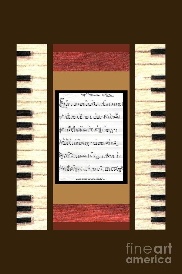 Handwritten Digital Art - piano keys sheet music to Keep Of The Promise by Kristie Hubler by Kristie Hubler