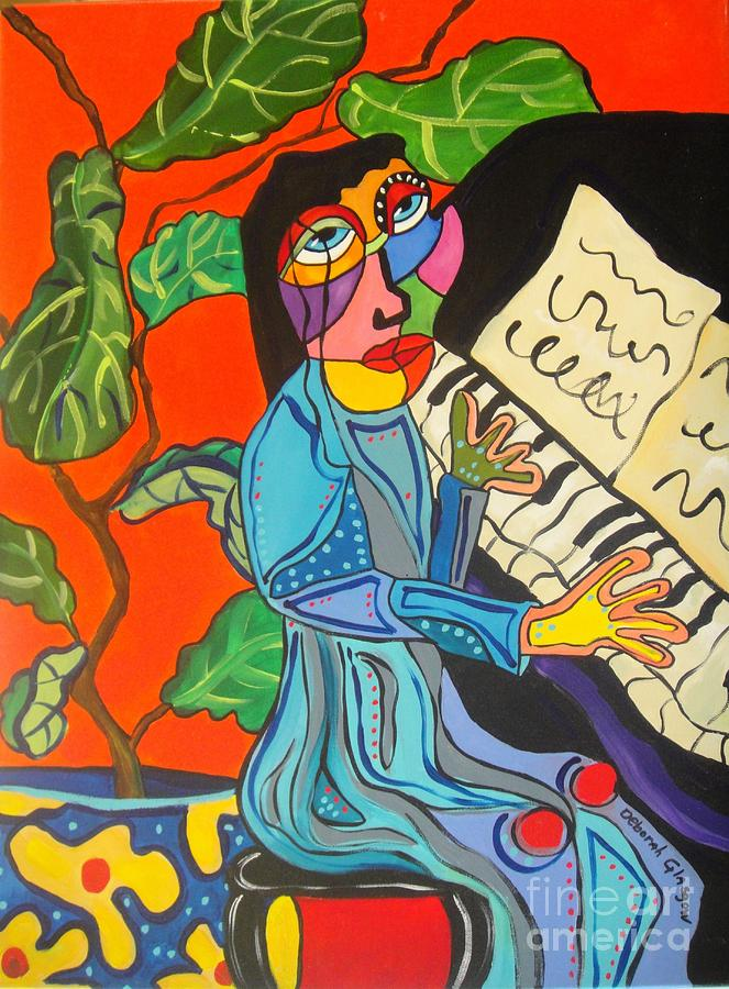 Lady Painting - Piano Lady by Deborah Glasgow