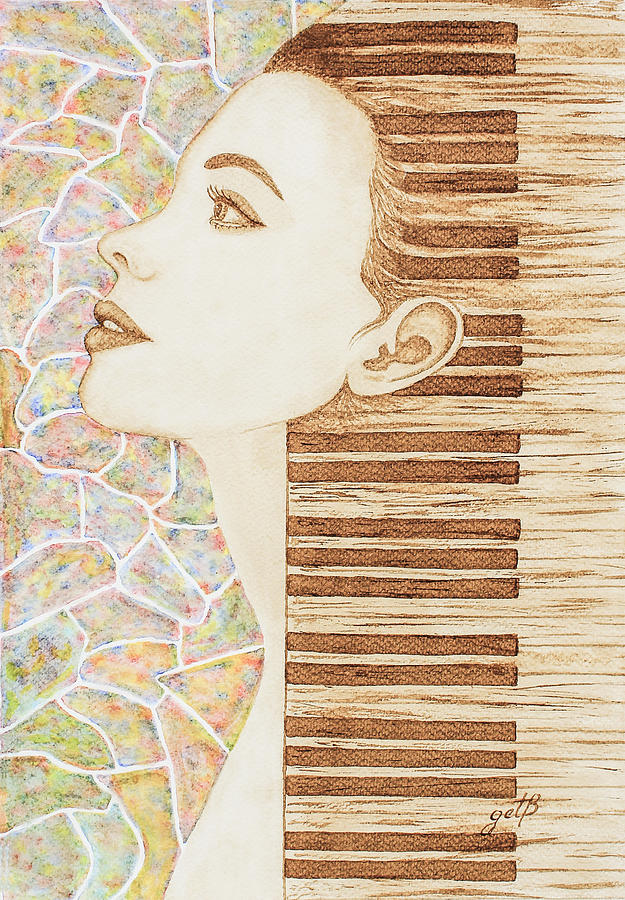 Woman Profile Painting - Piano Spirit Original Coffee And Watercolors Series by Georgeta Blanaru