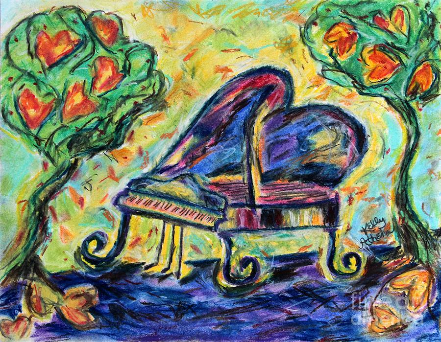 Piano Mixed Media - Piano With Heart Trees by Kelly Athena
