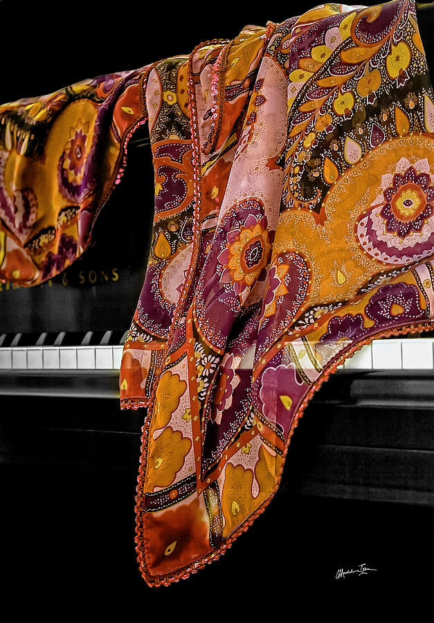 Piano Photograph - Piano With Scarf by Madeline Ellis