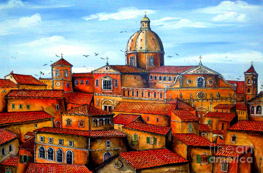 Sicily Painting - Piazza Armerina Sicily by Roberto Gagliardi