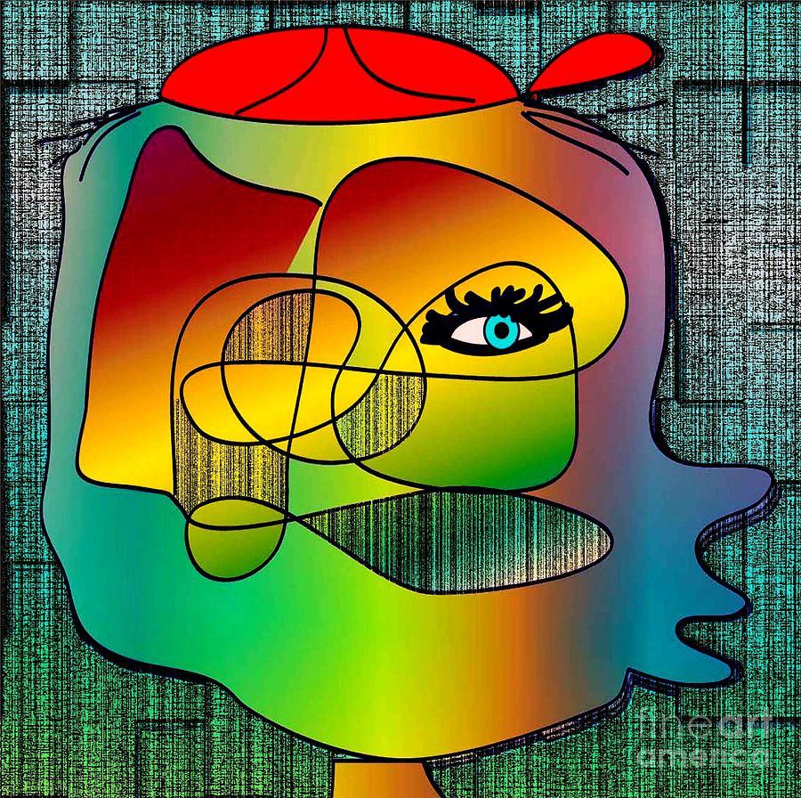 Drawing Digital Art - Picasso Inspired Cartoon by Iris Gelbart