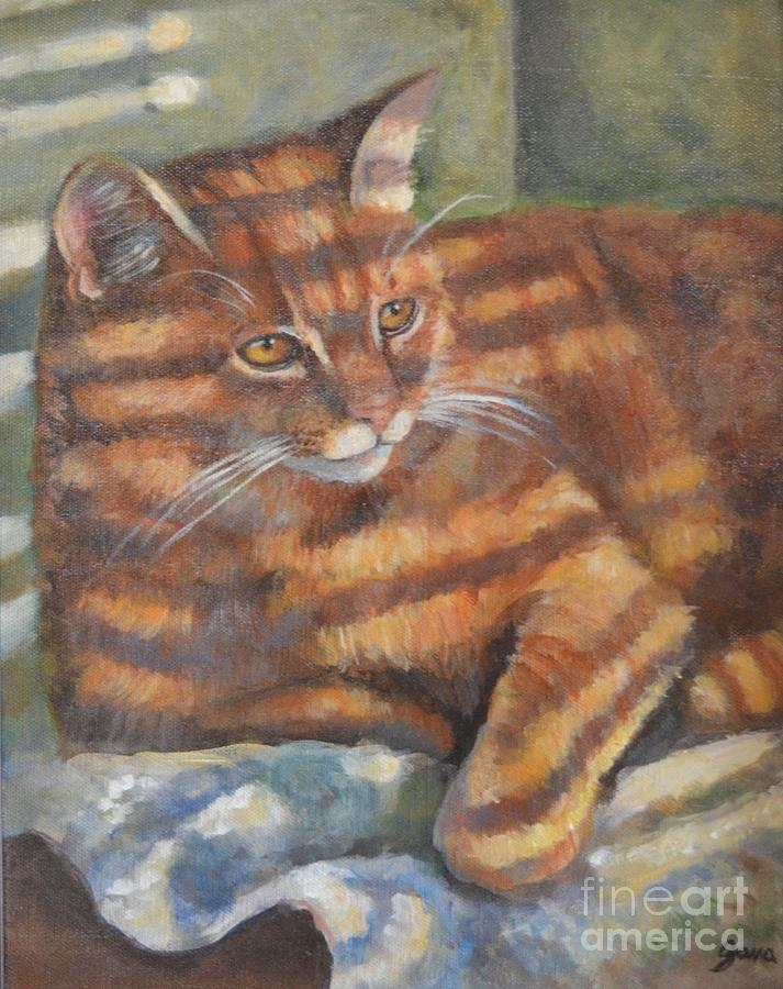 Orange Cat Painting - Picasso by Jana Baker