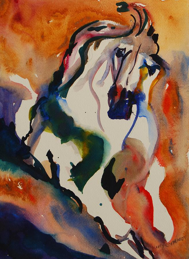 Horse Painting - Picasso by Nancy Gebhardt
