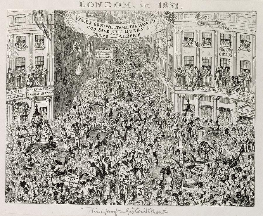 Celebrations Painting - Piccadilly During The Great Exhibition by George Cruikshank
