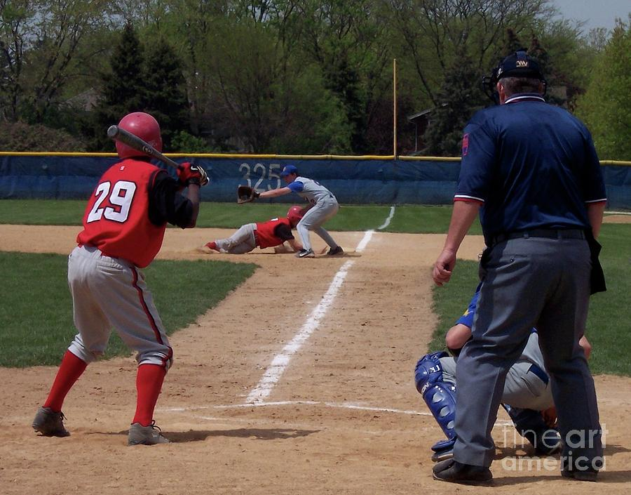 Sports Photograph - Pick Off Attempt At 1st Base by Thomas Woolworth