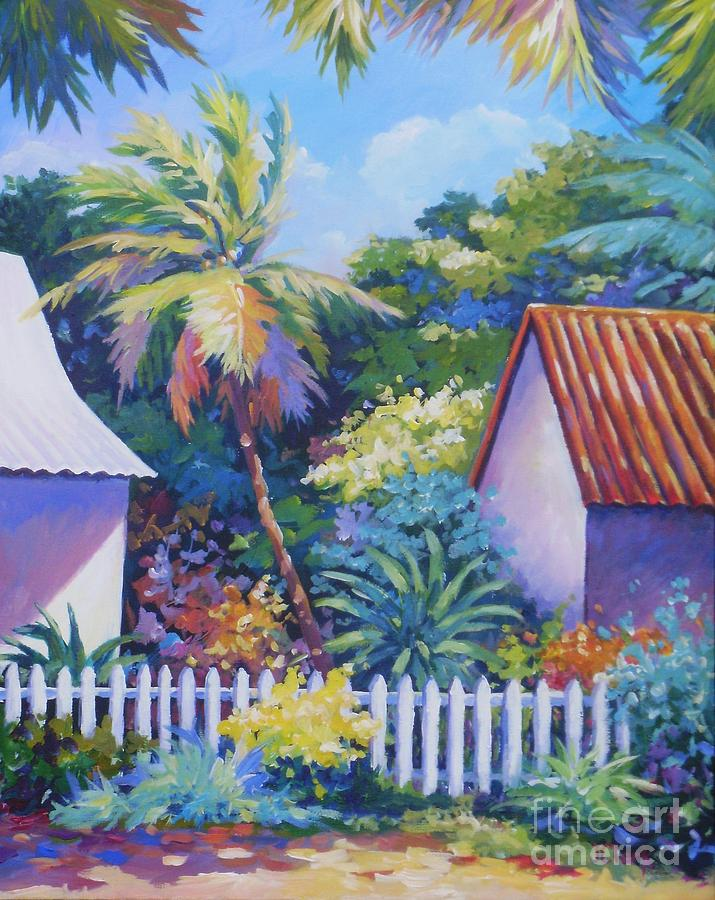 Cayman Painting - Picket Fence by John Clark
