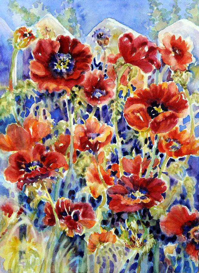 Red Poppies Painting - Picket Fence Poppies by Ann  Nicholson