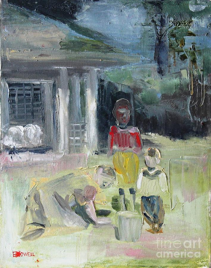 Landscape Painting - Pickin Up Pecans by Ellen Howell