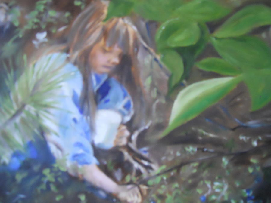 Girl Painting - Picking Blueberries by Joyce Reid