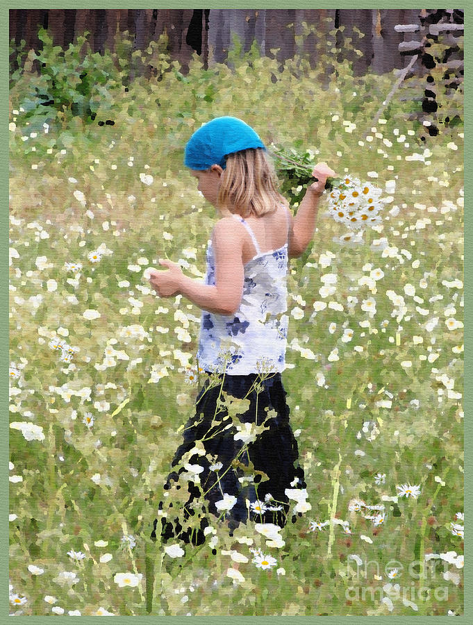Flowers Photograph - Picking Daisies by Jack Gannon