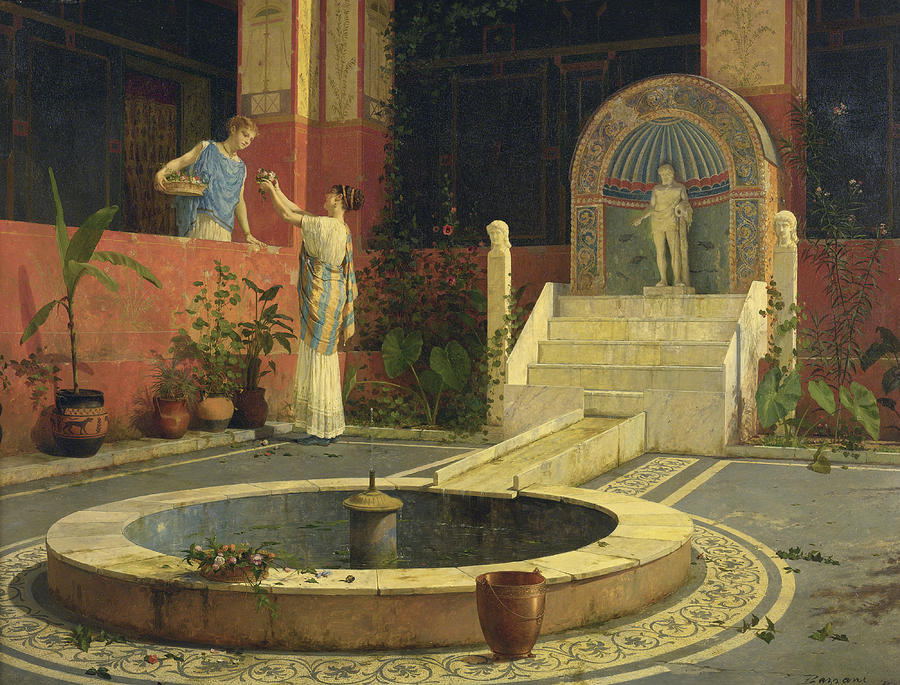 Women Painting - Picking Flowers From The Courtyard by Luigi Bazzani
