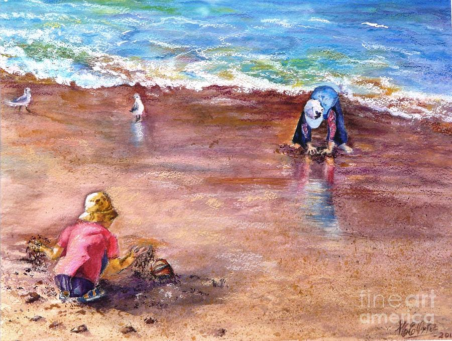 Seascape Painting - Picking Up Pebles by Marieve Ortiz