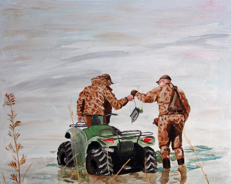 Duck Hunting Painting - Picking Up The Decoys by Kevin Callahan