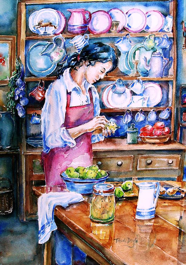 Kitchen Dresser Painting - Pickling Pears  by Trudi Doyle