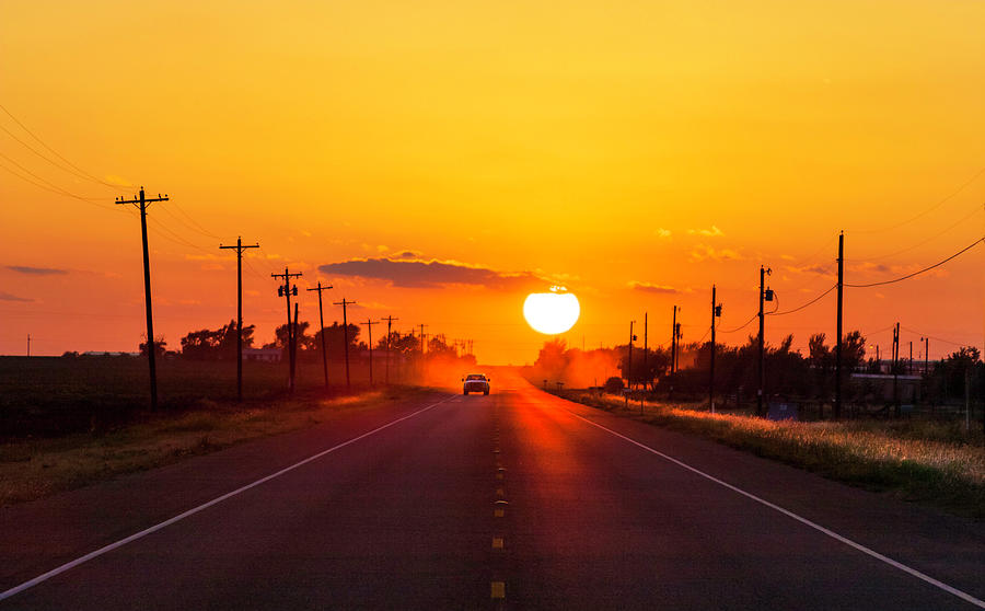 Pickup Truck At Sunset On West Texas Photograph by Dszc