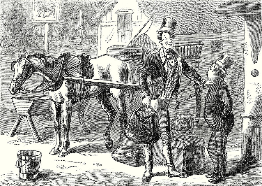 Pickwick Papers Drawing - Pickwick Papers Sam Looked At The Fat Boy With Great by English School