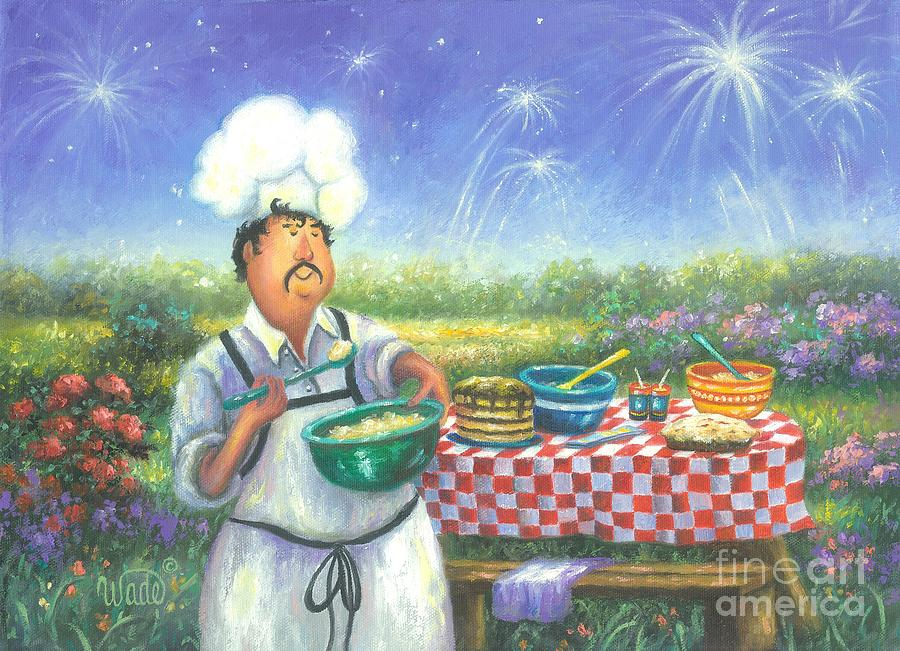 Chefs Painting - Picnic Chef by Vickie Wade