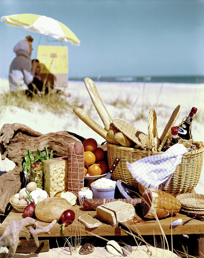 Picnic Display On The Beach Photograph by Stan Young