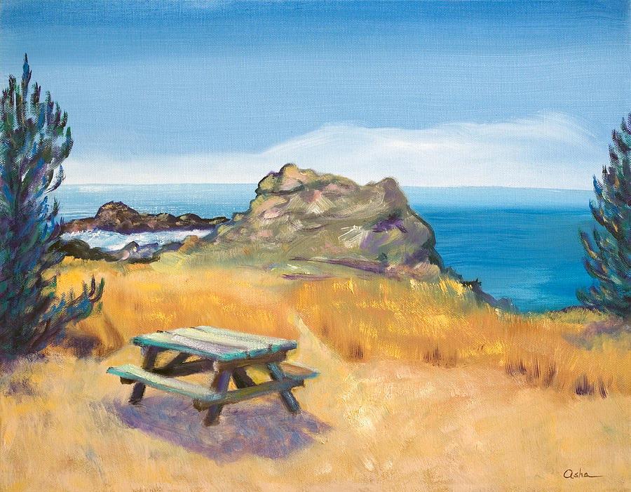 Northern California Coast Painting - Picnic Table And Ocean With Yellow Field by Asha Carolyn Young