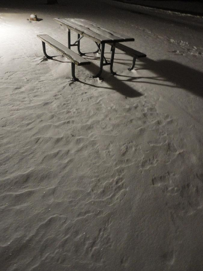 Picnic Table Photograph - Picnic Table In The Untried Snow by Guy Ricketts