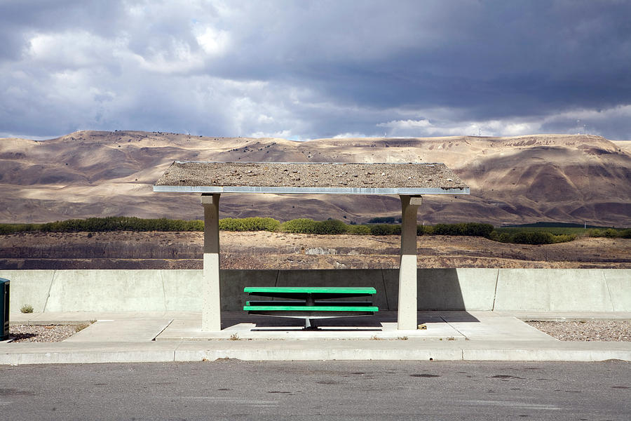 Clouds Photograph - Picnic Table Over Looks Columbia River by Heath Korvola